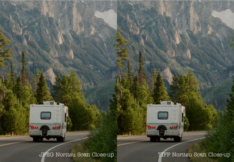 A side-by-side close-up comparison of a JPEG scan vs a TIFF scan