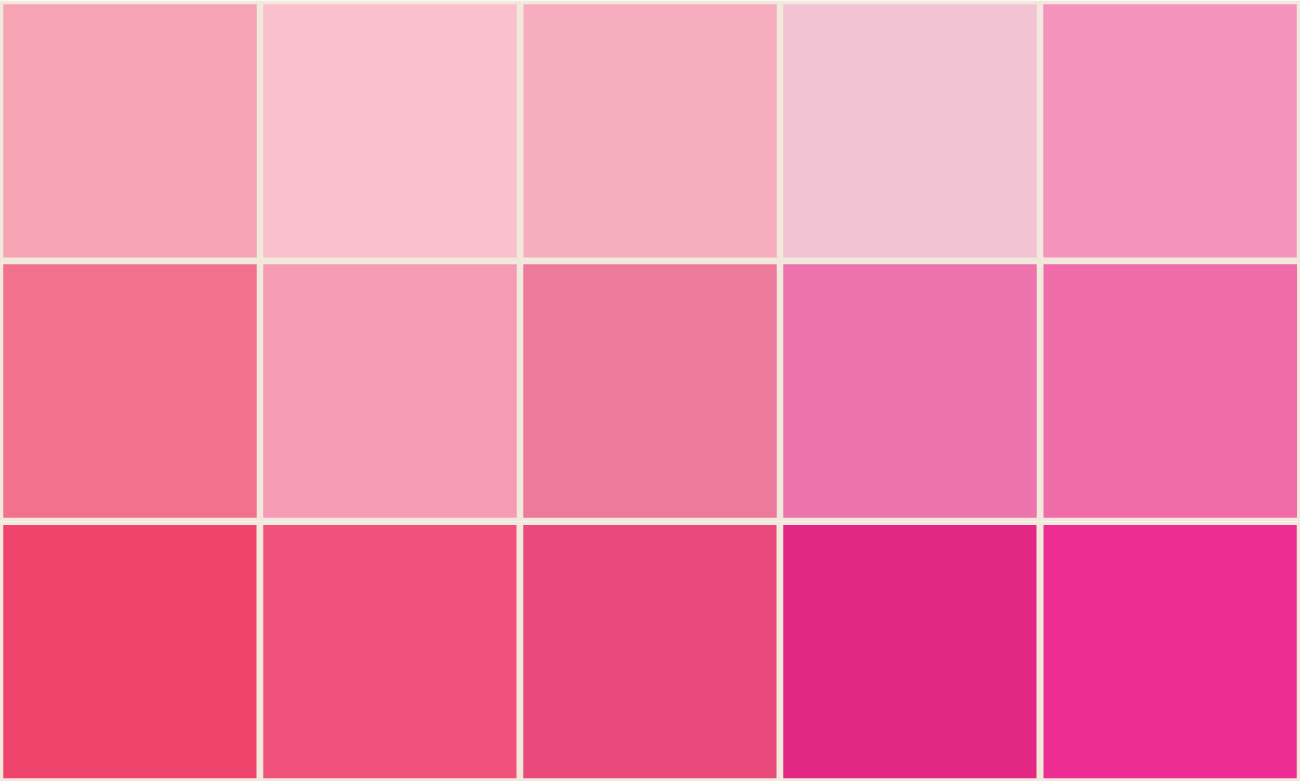 Just a few examples of the multitude shades of pink
