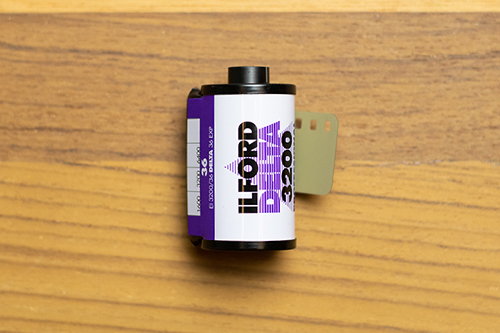 Photo of a Ilford Delta 3200 film roll